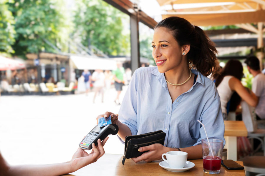 Woman making card payment