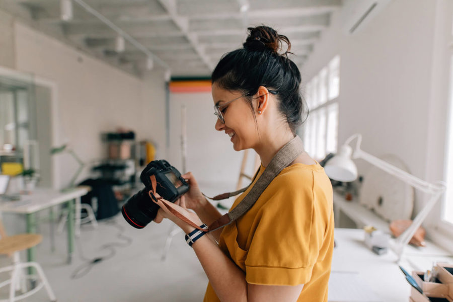 Photographer working in a studio
