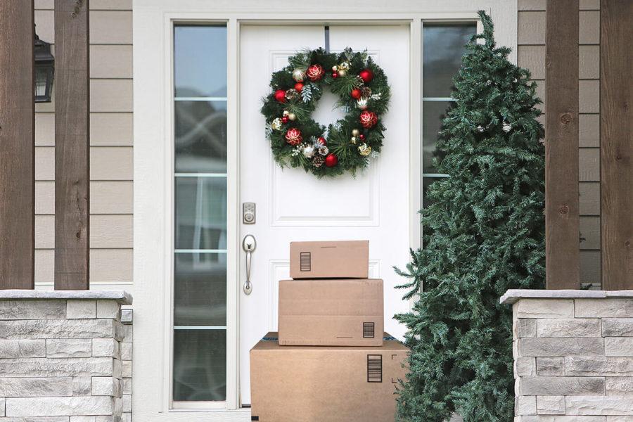 Christmas Wreath Front Door Packages