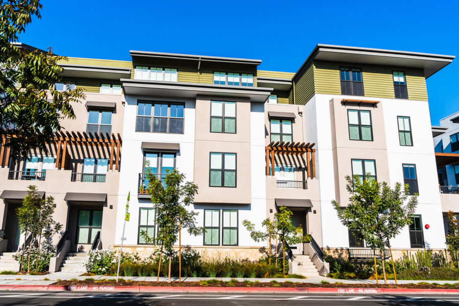Exterior view of multifamily residential building; Mountain View, San Francisco bay area, California