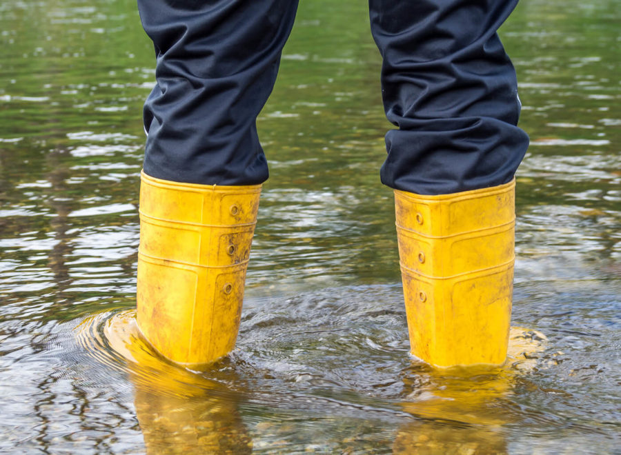 Wellies in the flood